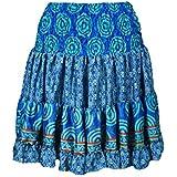 Mogul Interior Carissa Womens Summer Silk Beach Short Skirts Recycled Sari Swing Flare
