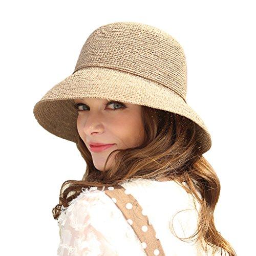 RIONA Womens Summer Hand-Woven Foldable Wide Brim Fisherman 100% Raffia Straw Sun Hat
