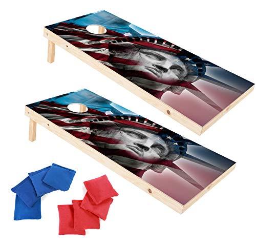 (Wood Premium Cornhole Set, Cornhole Toss Game Set, Bean Bag Toss Game, Regulation Size 4ft x 2ft Cornhole Boards & 8 Bags Playset, Backyard Lawn Cornhole Outdoor Game Set (Statue of Liberty))