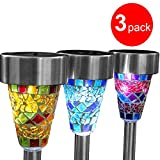3 X Solar Mosaic Border Garden Post Lights Garden Decoration Christmas Gift