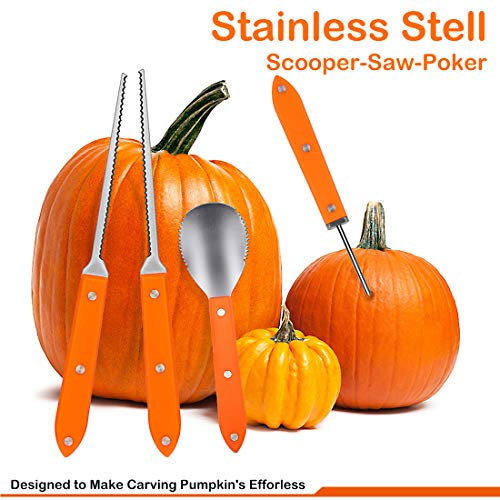 CPPSLEE Pumpkin Carving Kit - Heavy Duty Stainless Steel Professional Pumpkin Carving Tools Set for Halloween Jack-O-Lantern Sculpting Halloween Decorations(4Pcs Set) -