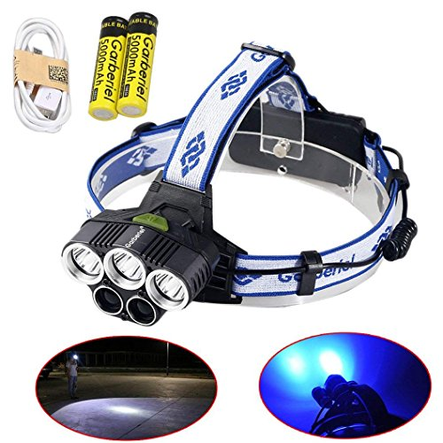 Garberiel LED Headlamp Headlight, Waterproof Super Bright Headlamp Rechargeable 6 Modes White Light and Blue Light Headlights for Climbing, Camping, Walking, Caving, Fishing, Cycling (Blue Led Bright Flashlight 6)