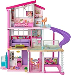When young imaginations move into the Barbie DreamHouse, they turn this amazing dollhouse into a dream home! More than 3 feet tall and 4 feet wide, the Barbie DreamHouse has so many amazing features -- three stories, eight rooms that include ...