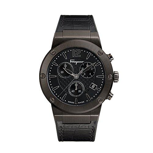 Salvatore Ferragamo Men's 'F-80' Swiss Quartz Stainless Steel and Leather Casual Watch, Color:Black (Model: FIJ030017) from Salvatore Ferragamo