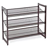 "SONGMICS ULMR03A 3-Tier Stackable Metal Rack Flat & Slant Adjustable Shoe Organizer Shelf for Closet Bedroom & Entryway 29.1""x 12.2"" x 24.7"" Bronze d3"