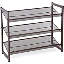 Songmics ULMR03A 3-Tier Stackable Metal Shoe Rack Flat &