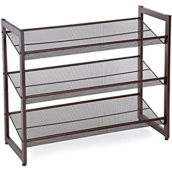 Charmant SONGMICS 3 Tier Stackable Metal Shoe Rack Flat U0026 Slant Adjustable Shoe  Organizer Shelf For
