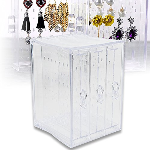 New Vanity Cabinet - Careshine Acrylic Jewelry Storage Box,Earring Display Stand Earring Organizer Holder Hanger Earring Studs with 3 Vertical Drawer