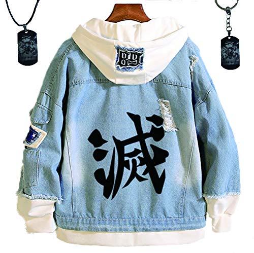 HLZG Demon Slayer: Kimetsu No Yaiba Denim Jacket and Kamado Tanjirou Keychain Necklace