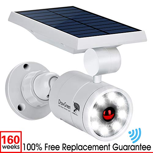 DrawGreen DG08-A Solar Outdoor Motion Sensor,1400-Lumens Bright LED Spotlight 5W(110W Equiv.) Light, White (Full Draw Outdoors)