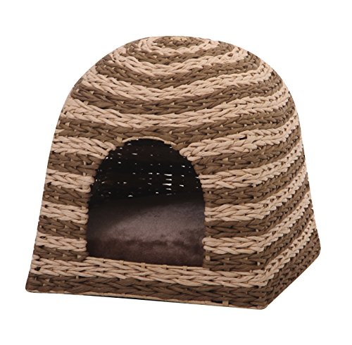 Banana Cabana – PetPals  Woven Water Hyacinth Cat House with Pillow, 16 x 16 x 16″ For Sale