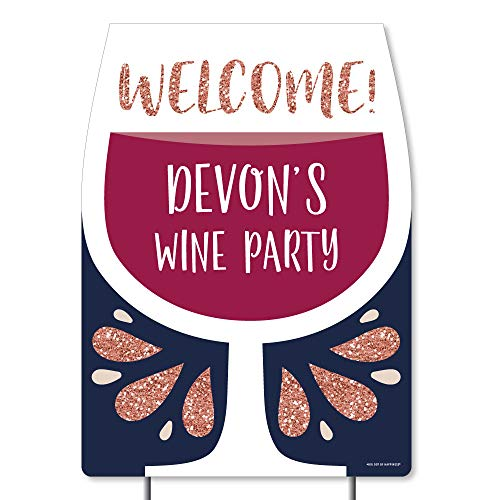 (Big Dot of Happiness Personalized But First, Wine - Party Decorations - Custom Wine Tasting Party Welcome Yard Sign)