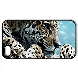 beautiful leopard - Case Cover for iPhone 4 and 4s (Cats Series, Watercolor style, Black) by icecream design