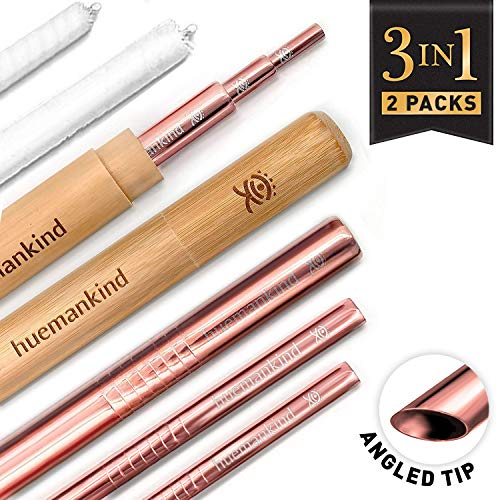 316 Stainless Steel Reusable Straws With Case (2 Sets): Titanium Plated Rose Gold Metal Straw x6, Bamboo Portable Case, Cotton Cleaning Brush, Pouch, Eco-Friendly Zero Waste 3in1 Travel Drinking Straw