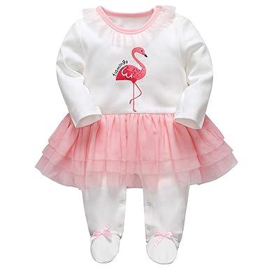 1b54dc317ed6 Bebé Niñas Peleles Algodón Mameluco Tutú Pijama Recién Nacido Footies Tuta  Sleepsuit Outfits  Amazon.es  Ropa y accesorios