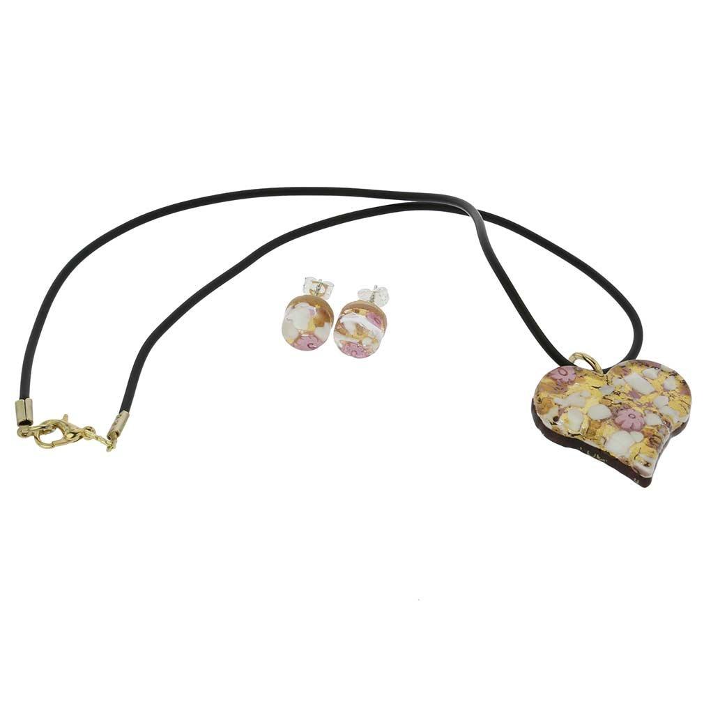 Pu GlassOfVenice Murano Glass Venetian Reflections Heart Necklace and Earrings Set