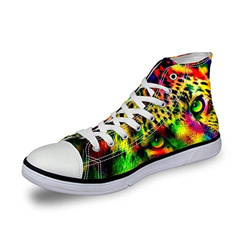 Abbracci Idea Cool 3d Animali Stampa High Top Scarpe Di Tela Da Uomo Moda Sneakers Leopardate