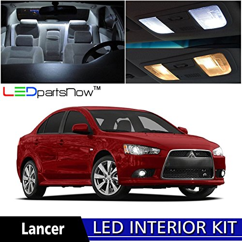 LEDpartsNOW 2007-2015 Mitsubishi Lancer LED Interior Lights Accessories Replacement Package Kit (6 Pieces), WHITE