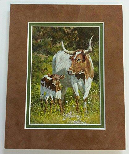 Matted Mini Print of Longhorns By Wayne Baize -