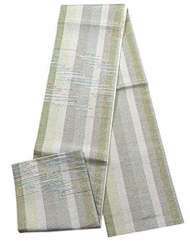 故障トーク横向きリサイクル 袋帯 組紐風 縞模様 正絹