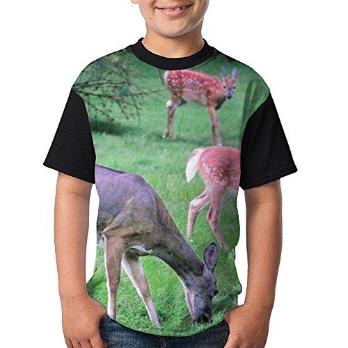 ENGJDHEH Teenager T Shirt Deer Eat Grass Teen