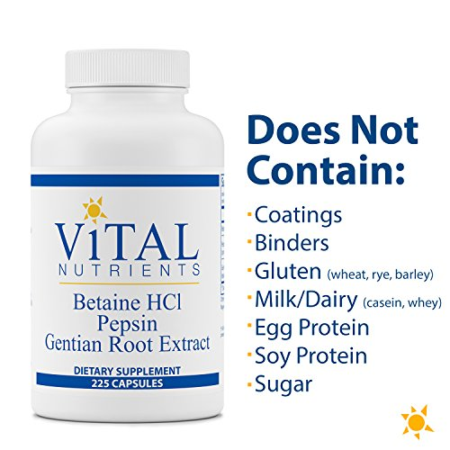 Vital Nutrients - Betaine HCL Pepsin & Gentian Root Extract - Powerful Digestive Support for the Stomach - Gluten Free - 225 Capsules by Vital Nutrients (Image #4)