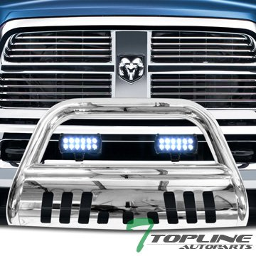 Topline Autopart Polished Stainless Steel Bull Bar Brush Push Bumper Grill Grille Guard With Skid Plate + 36W Cree LED Fog Lights For 10-18 Dodge Ram 2500 / 3500