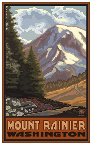 Mount Rainier Washington Springtime Mountains Travel Art Print Poster by Paul A. Lanquist (12