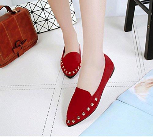 Tenworld Chaussures De Confort À Enfiler Pour Le Confort Des Femmes Chaussures À Talons Pointus Orteils (7, Noir) Rouge