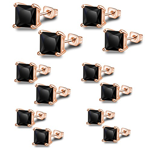 Anni Coco Rose Gold Plated Stainless Steel Square Princess Cut Black CZ Stud Earrings Set,3mm-8mm 6 (3 Stone Princess Earrings)