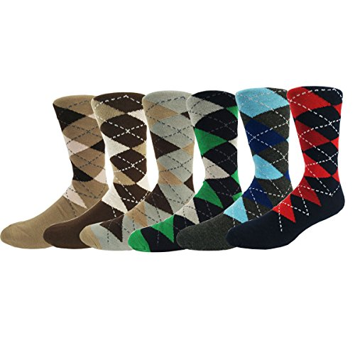 Zmart 6 Pack Men's Argyle Casual Socks, Classic Colorful Assorted Cotton Dress Crew Socks Size 8-14