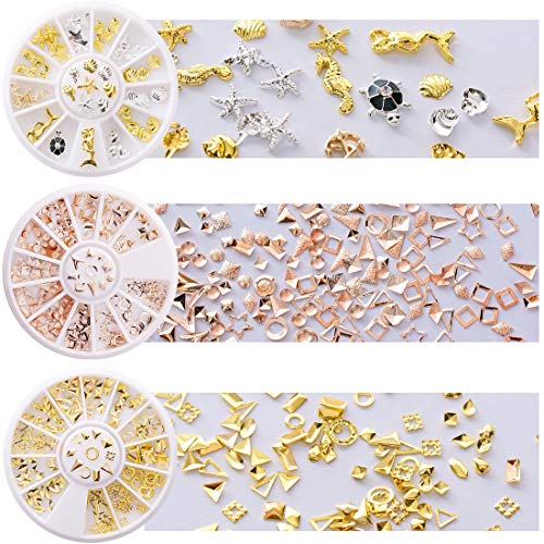 Mermaid+Rose Gold+Gold Rivet Nail Art Studs Oval Circle Square Triangle Hollow Frame Mixed Sizes DIY Metallic 3D Charm Decoration