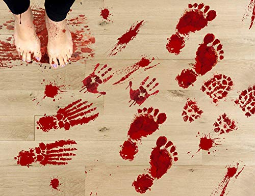 jollylife 84PCS Bloody Footprints Floor Clings - Halloween Handprint Zombie Restroom Sign Decals Vampire Party Decorations Stickers Wall Supplies(14 Sheets)