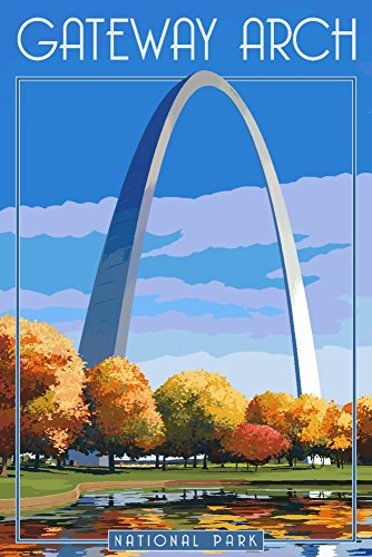 Gateway Arch National Park - Arch and Trees in Fall (12x18 Art Print, Wall Decor Travel Poster)