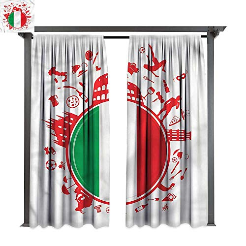 cobeDecor Outdoor Curtain Italian Flag Soccer Player Pizza for Lawn & Garden, Water & Wind Proof W120 xL72