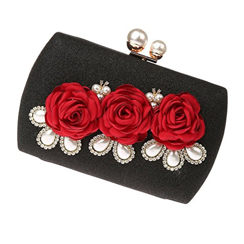 Bag Chains as described 2 Black Handbag Crystal Shoulder Women Evening Black Flower with Baoblaze Clutch Purse 8gAwPgq7