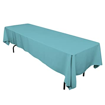 LinenTablecloth 60 X 126 Inch Rectangular Polyester Tablecloth Turquoise