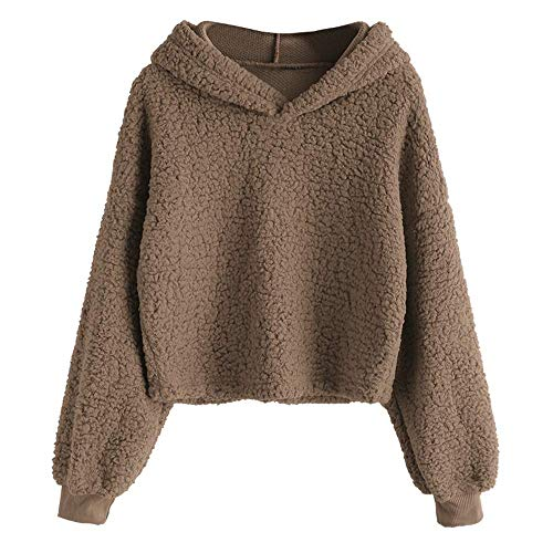 ZAFUL Women's Long Sleeve Hoodie Faux Fur Solid Color Crop Pullover Sweatshirt Tops Coffee XL ()