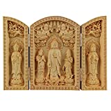 QHYT Buddha Statue Carving Locker Box, Avalokitesvara, Amitabha and Mahasthamaprapta Sculpture Decoration Made of Boxwood, Golden