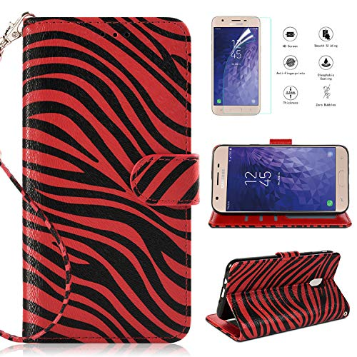 (Samsung Galaxy J3 2018 Case,Galaxy J3 Achieve/J3 Star/J3 Orbit/J3 V J3 V 3rd Gen/J3 TOP/J3 Express Prime 3/Amp Prime 3/Sol 3 Wallet Case w Screen Protector,Kickstand Card Slot Leather Zebra Case,Red)