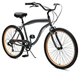 Critical Cycles Chatham Beach Cruiser Men's 26' Seven-Speed, Graphite & Orange