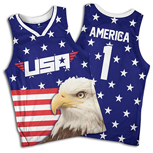 a3f300b53 Greater Half Eagle America #1 Basketball Jersey (S-XXXXL) Red