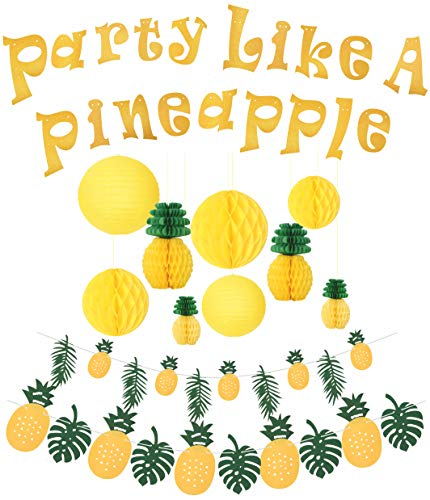 (Party Like a Pineapple, Pineapple Party, Hawaiian Party, Pineapple for Luau Party, Hawaiian Themed Party, Tropical Beach Party Decorations, Summer Party, Perfect for Birthday, Wedding,)
