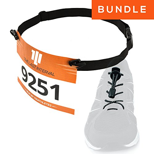 Race Number Belt + Elastic No Tie Shoelaces - Running, Triathlon Kit (Black Belt, Black Laces) - Triathlon Number Belt