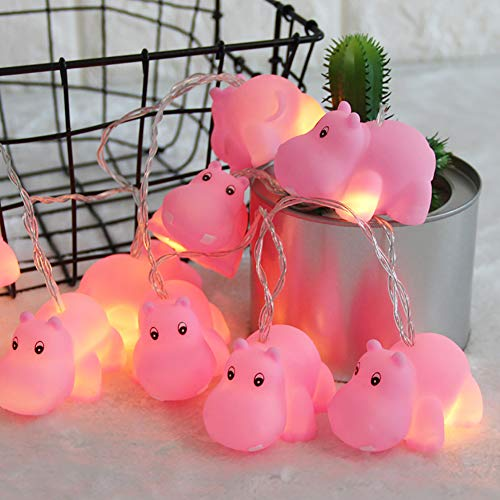 AceList Gzero 4.9 ft 10 Lights Battery Pet LED Decorative Hippo Indoor Outdoor Decor String Light, Baby Room Decoration, Child Room Decoration, Party Bedroom Garden Decorations Ornaments Supplies