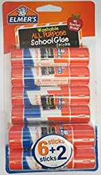 Elmer\'s Pack of 8 All Purpose Washable Glue Sticks School Supply