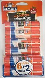 Elmer\'s Pack of 8 All Purpose Washable Glue Sticks School Supply