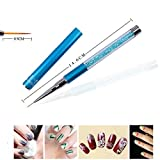 7/9/11Mm Nail Art Brush Painting Flower Drawing Line Pen Crystal Rhinestone Metal Acrylic Tip Design Tool Manicure 9mm