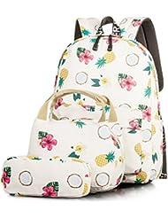 Backpack for Teenage Girls, Floral College Student School Canvas Bag Knapsack