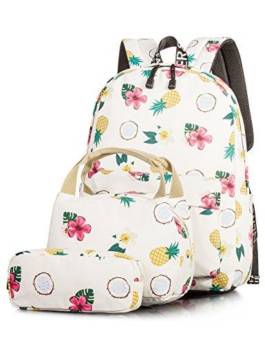 Backpack for Girls, Fashion Floral College Student School Laptop Backpack Lunch Bag Pencil Case Knapsack Beige 3PCS
